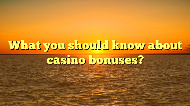What you should know about casino bonuses?
